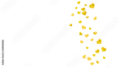wedding confetti with gold glitter hearts valentines day vector