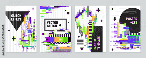 Posters Set With Glitch Effect Fototapet