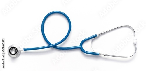 Fotografie, Obraz  Blue stethoscope isolated on white background