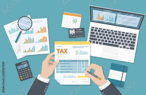 Fototapeta Tax payment concept. State Government taxation, calculation of tax return. Man fills the tax form, documents, calendar, calculator, laptop. Pay the bills, invoices, payrolls. Vector illustration. obraz