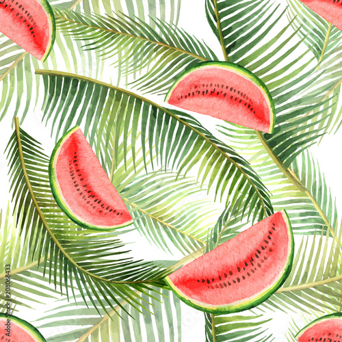 Cotton fabric Watercolor vector seamless pattern tropical leaves and slice of watermelon isolated on white background.
