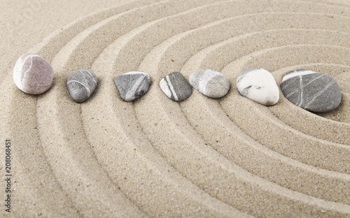 Foto op Aluminium Stenen in het Zand stones on sand for relaxation as background