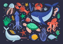 Collection Of Cute Funny Smiling Marine Animals - Mammals, Reptiles, Molluscs, Crustaceans, Fish And Jellyfish Isolated On Dark Background. Sea And Ocean Fauna. Flat Cartoon Vector Illustration.
