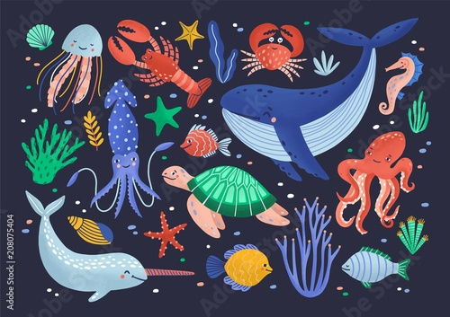 Photo  Collection of cute funny smiling marine animals - mammals, reptiles, molluscs, crustaceans, fish and jellyfish isolated on dark background