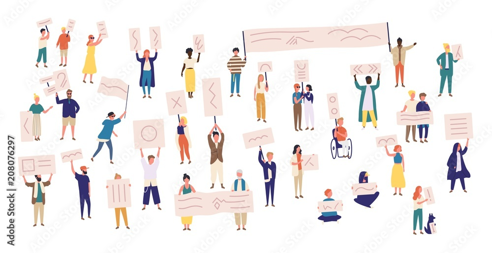 Fototapety, obrazy: Crowd of protesting people holding banners and placards. Men and women taking part in political meeting, parade or rally. Group of male and female protesters or activists. Vector illustration.