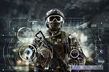 Soldier special forces with weapons in their hands on a futuristic background.  Military concept of the future.