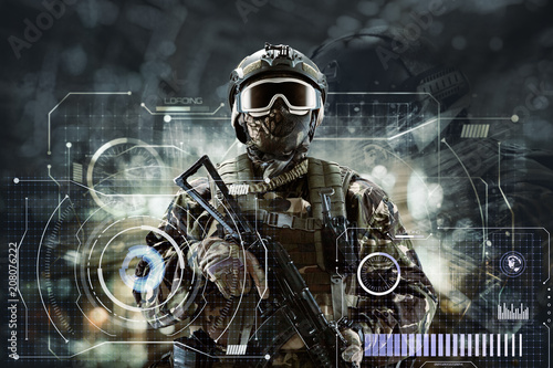 Fotografia  Soldier special forces with weapons in their hands on a futuristic background