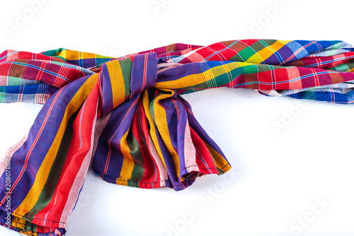 Cuadros en Lienzo colorful loincloth thai traditional style fabric, isolated on white background