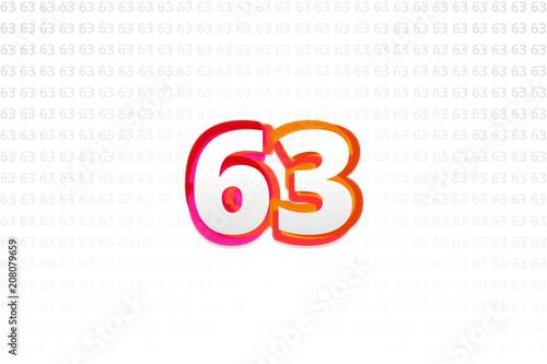 Fotografie, Tablou  Number 63 on Number 63 background