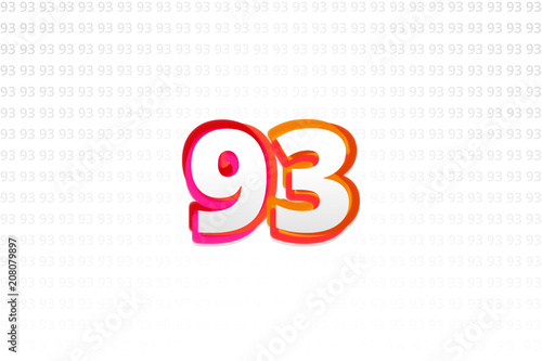 Fotografie, Obraz  Number 93 on Number 93 background