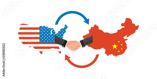 Two businesspeople handshake after good deal. US America and China on