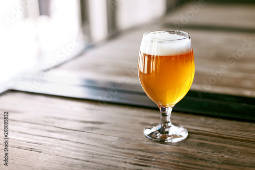 Beer Brewery. Glass Of Cold Wheat Beer