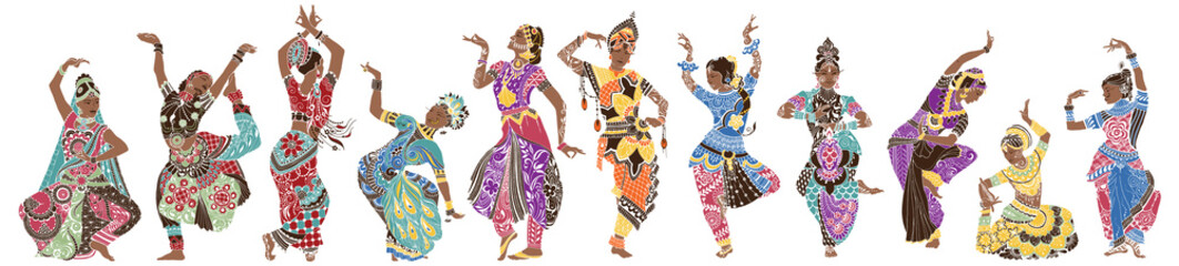 Dancing girls in bright oriental costumes