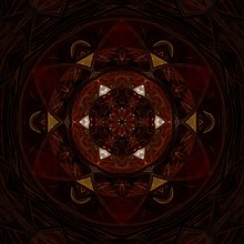 Creative Luxury Mandala. Kaleidoscope Abstract Wallpaper. Sacred Geometry Mystic Painting Art. Magic Fractal Artwork. Symmetric Dark Gold And Black Graphic Design Pattern. Print For Fabric Or Textile.