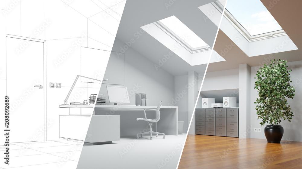 Fototapety, obrazy: CAD Raumplaner für Büro auf Dachboden