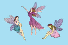Beautiful Three Young Fairies Dancing, Flying In Wind And Sitting Around, Hand Drawn Doodle Sketch, Color Vector Illustration