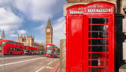 Türaufkleber London roten bus London symbols with BIG BEN, DOUBLE DECKER BUS and Red Phone Booths in England, UK