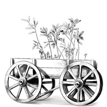 Wooden Cart With Big Wheels Wi...