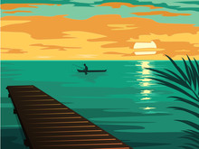 Landscape With The Silhouette Of Fishermen In A Boat At Sunset