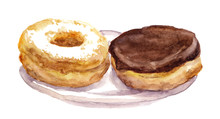 Watercolor Painted Donuts