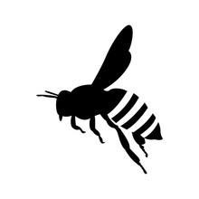 Flying Honey Bee. Silhouette Honey Bee Icon Vector