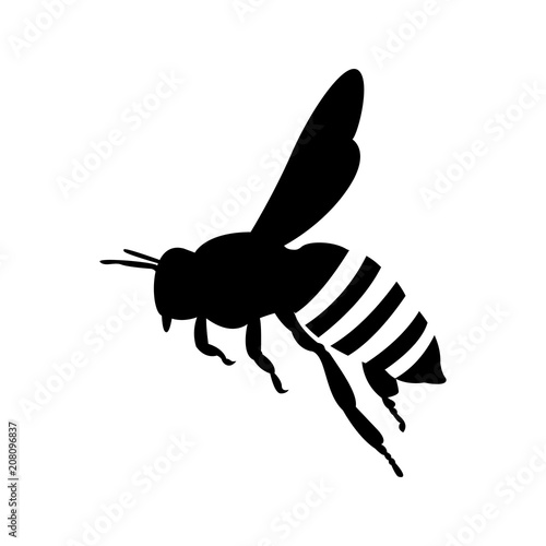 Fotografie, Tablou flying honey bee. silhouette honey bee icon vector