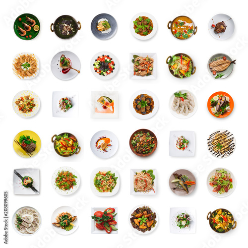 Garden Poster Ready meals Collage of restaurant dishes isolated on white