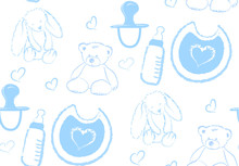 Vector Semaless Pattern With Hand Drawn Illustration Accessories For Kids And Newborn Isolated On White Background