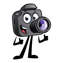 Happy Cartoon Camera Mascot Is...