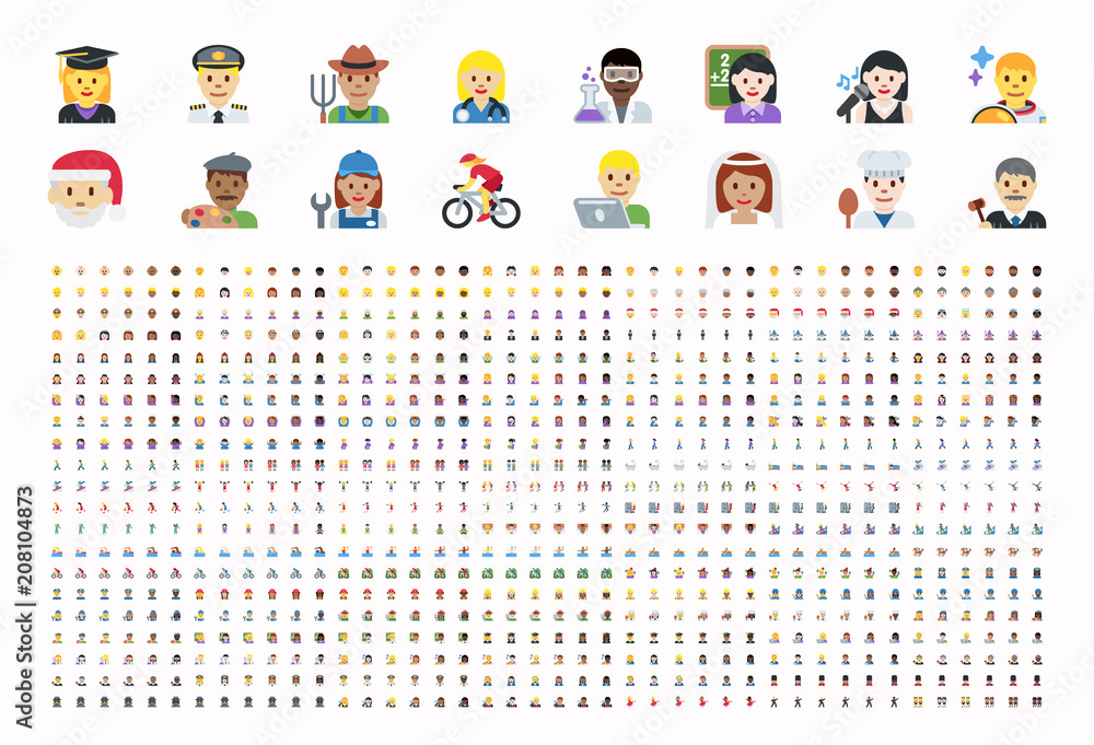 Fototapeta All type of people, different workers, man, woman works, jobs, professions, emojis, emoticons, stickers, symbols. Teachers, doctors, sports, sportsmen, musicians. Labour icons set, collection