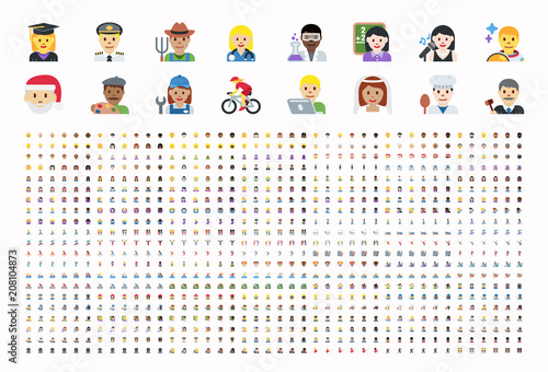All type of people, different workers, man, woman works, jobs, professions, emojis, emoticons, stickers, symbols Canvas Print