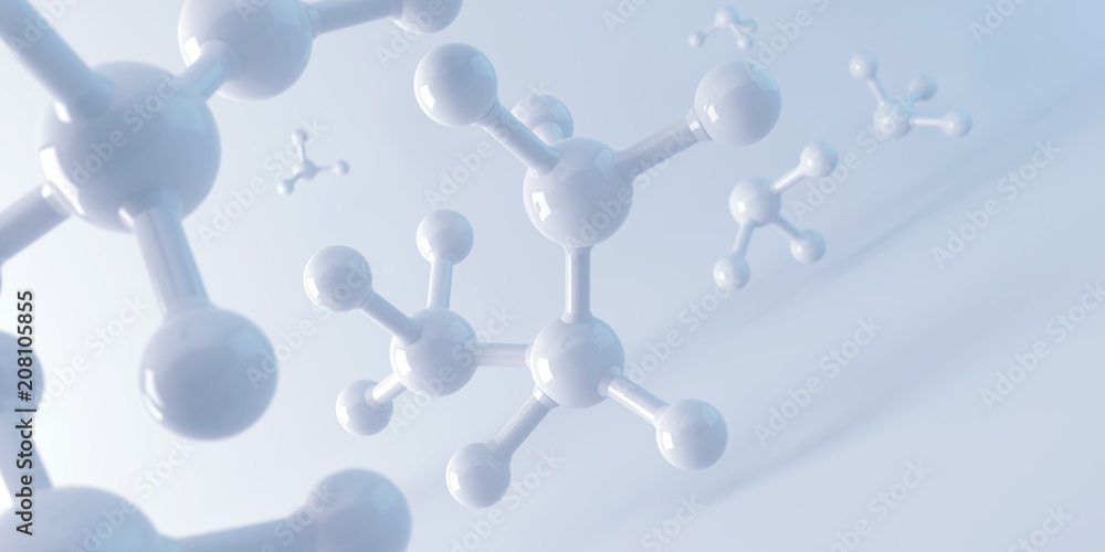 Fototapety, obrazy: white molecule or atom, Abstract Clean structure for Science or medical background, 3d illustration.