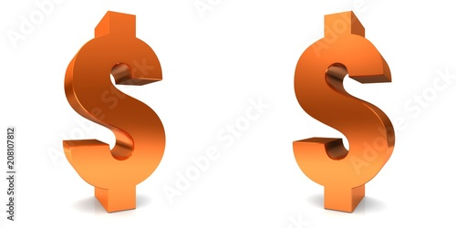 Fotografie, Obraz  Dollar sign symbol 3d orange isolated