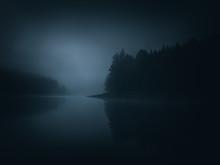 Dark Moody Landscape Of A Lake...