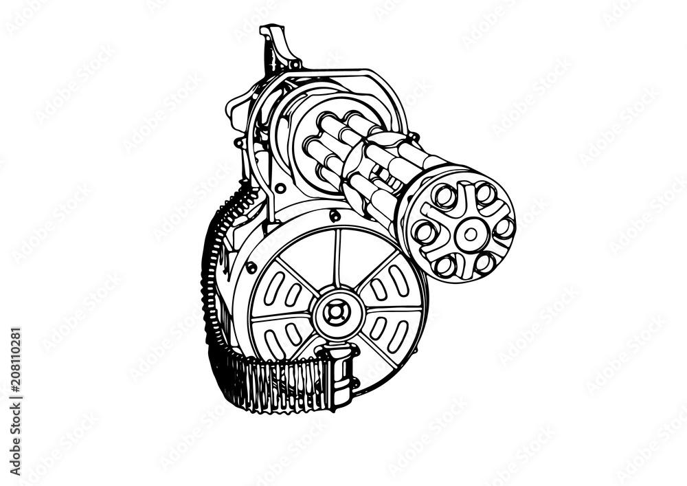 Photo Art Print Sketch Of A Military Machine Gun Vector