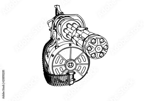 Photo sketch of a military machine gun vector