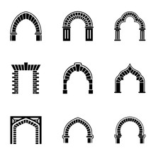 High Arch Icons Set. Simple Se...