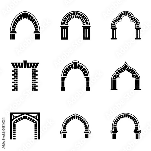 High arch icons set Canvas Print