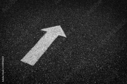 Fotografie, Obraz  Arrow Painted on Street Asphalt for Directions and Safety Driving on Road