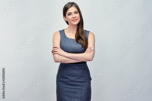 Fototapeta positive smiling woman with arms crossed. obraz