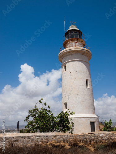 Foto op Canvas Cyprus Paphos Lighthouse, well known lighthouse on the island Cyprus, near town Paphos, Cyprus