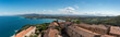 Panoramablick von der Festung in Populonia, Toskana, Italien, Ausblick, Panorama,