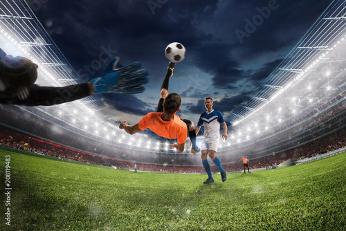 Fototapety, obrazy: Soccer striker hits the ball with an acrobatic bicycle kick. 3D Rendering