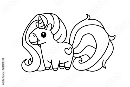 vector cartoon unicorn Magic coloring book page for kids 03 ...
