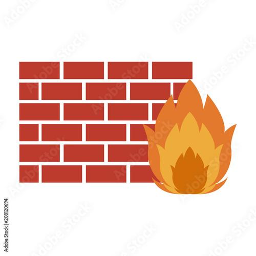 Fotografía  Firewall system technology vector illustration graphic design