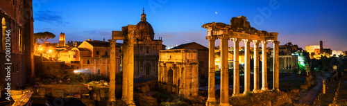 Fotografie, Obraz  Aerial view of illuminated Roman forum in Rome, Italy at night