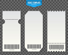 Creative Vector Illustration Of Empty Ticket Template Mockup Set Isolated On Transparent Background. Art Design Blank Theater, Air Plane, Cinema, Train, Circus, Sport, Football Invitation Coupons