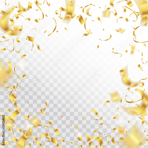 Obraz Creative vector illustration of colorful falling shiny confetti isolated on transparent background. Art design festive fun decor glitters. Abstract concept graphic holiday decorative tinsel element - fototapety do salonu