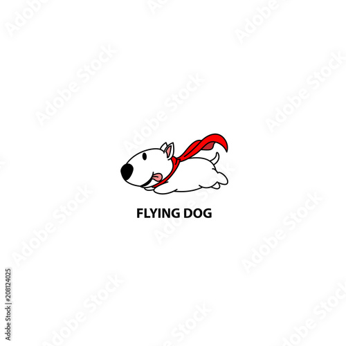 Foto Flying dog, funny bull terrier with red cape icon, logo design, vector illustrat