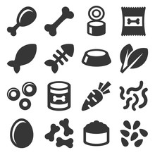 Pet Food Icons Set On White Background. Vector